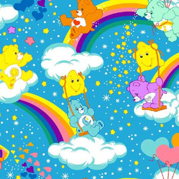 Care Bear carebear rainbows hearts Stars blue Cotton by weiselect