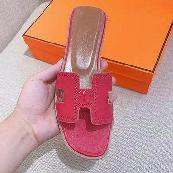 Hermes Popular Women Multicolor Casual Sandal Slipper Shoes Red I-ALS-XZ