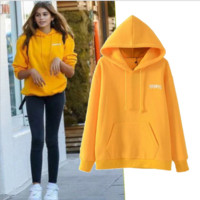 Yellow Hooded led long sleeve sets more letters printing sweater