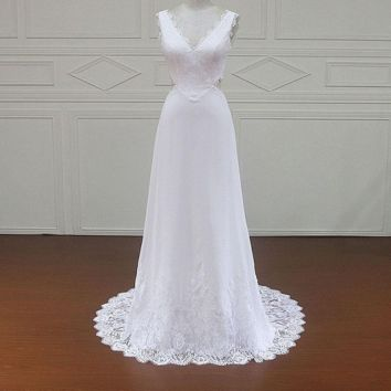 Vintage Beach Wedding Dress Handmade lace Bridal Gowns Cap Sleeve Illusion