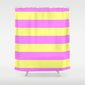 Deep Pink And Yellow Stripes Shower Curtain by Colorful Art