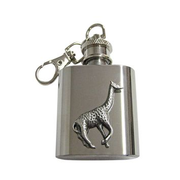 Textured Giraffe 1 Oz. Stainless Steel Key Chain Flask