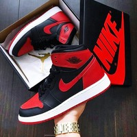 Nike Air Jordan Retro 1 High Tops Contrast Sports Women Men Running Shoes Black red