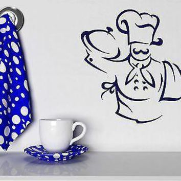 Wall Stickers Vinyl Decal Chef Hat Apron Towel Bon Appetite Unique Gift (n238)