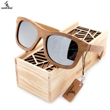 BOBO BIRD Bamboo Glasses With Coated Mirror Lenses