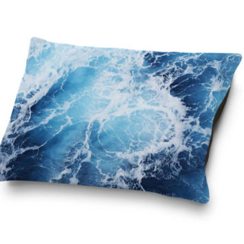 Blue Ocean Surf - Pet Bed, Nautical Style Bedding Pet Pillow Decor Coral Fleece Dog & Cat Bed Coastal Decor Accent. In Small Medium Large