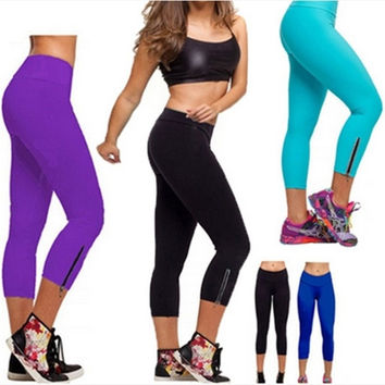 Girls YOGA Tights Running Capri Pants High Waist Cropped Leggings Fitness HOT = 1932435908