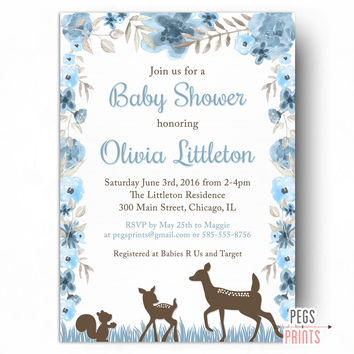 Deer Baby Shower Invitation - Woodland Baby Shower Invitation PRINTABLE - Woodland Creature Baby Shower Invitation - Woodland Animals Invite