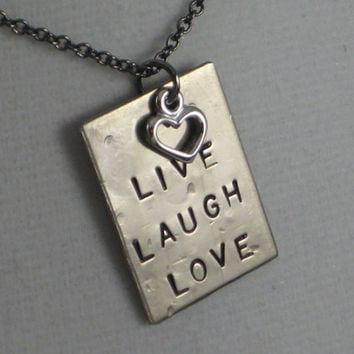 LIVE LAUGH LOVE with Heart Necklace  - Love Necklace on 18 inch gunmetal chain - Valentine Necklace