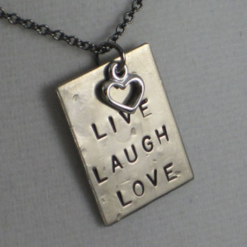 LIVE LAUGH LOVE with Heart Necklace Love Necklace by TheRunHome