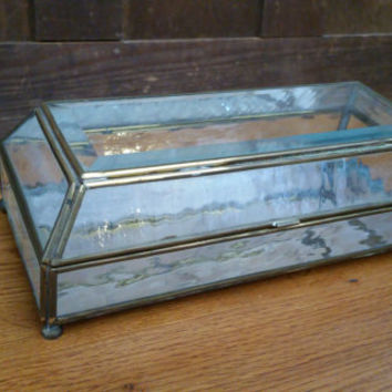 Vintage Brass Vitrine Glass Mirrored Display Case Jewelry Box