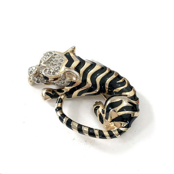 Panetta Dimensional Crouching Tiger Brooch Polished Gold Plating & Black Enamel Stripes Pave Ice Crystal Signed Gift for Her