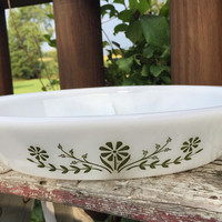 Vintage Glasbake divided casserole dish w/ green flower pattern, vintage pyrex Daisy Days milk glass ovenware, RETRO milk glass serving dish