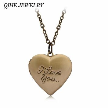 QIHE JEWELRY Golden Bronze Engraved I love you Heart Locket Necklace Sweet Birthday Daughter Wedding Girlfriend Gifts