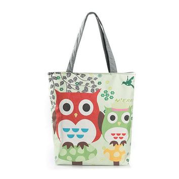 Owl Canvas Vertical Shoulder Bag Crossbody Bag Handbag For Women