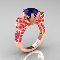 French 14K Rose Gold 3.0 CT Blue and Pink Sapphire Engagement Ring, Wedding Ring R382-14KRGPBS