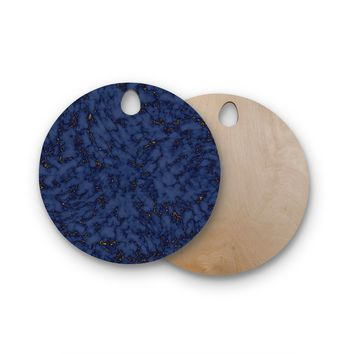"Will Wild ""Blue & Gold Marble"" Navy Abstract Round Wooden Cutting Board"