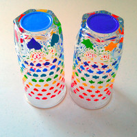 Rainbow Glasses Stars and Hearts Drinkware Cups Pretty Bright Fun Upcycled - Set of 2