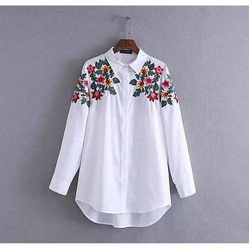 Vintage Colored Flower Embroidery Shirt New Woman Lapel long sleeve White Blouse Tops Cotton blusas chemise femme blusa