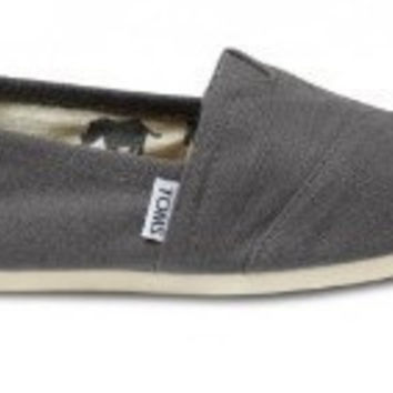 Men Women Soft Casual Canvas Summer Breathable TOMS Shoes Dark Gray Flats