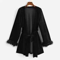 Faux Fur Cuff Robe