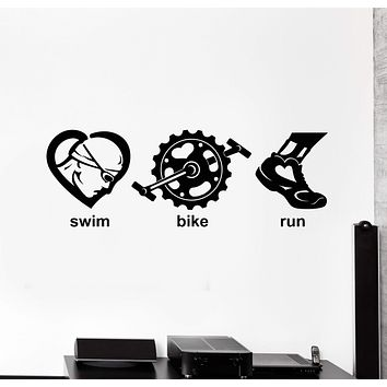 Vinyl Wall Decal Triathlon Swim Bike Run Sports Art Decor Stickers Mural Unique Gift (ig4946)