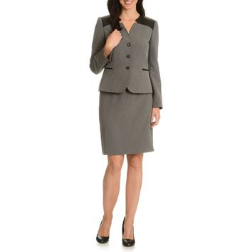 Tahari Arthur S. Levine Women's Inverted Notch Collar Skirt Suit | Overstock.com Shopping - The Best Deals on Skirt Suits