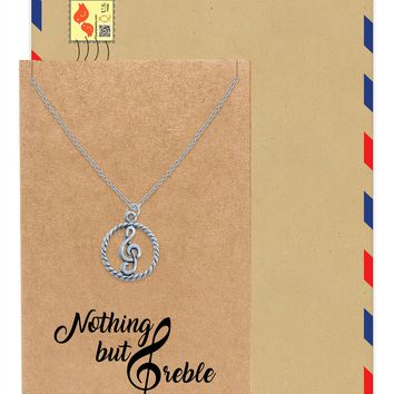 Eileen Music G-clef Note Pendant Necklace, Best Jewelry Gift for Music Lovers