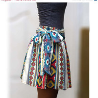 ON SALE Colorful Tribal Mini Skirt Blue, Fuschia and Yellow- Ready to ship
