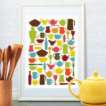 Kitchen art print, Mid century modern, Kitchen decor, Wall art, Retro poster for home