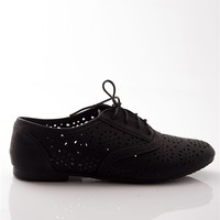 Hole Bag of Tricks Perforated Lace Up Oxford Flats - Black