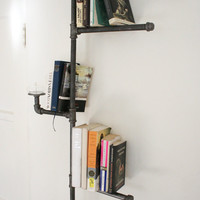 Industrial Pipe Bookshelf with Oil Candle