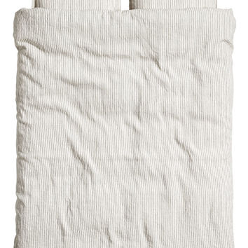 Washed linen duvet cover set - Natural white/Grey striped - Home All | H&M GB
