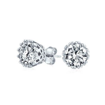 Brilliant Solitaire Crown CZ Stud Earrings Rose Gold Plated Sterling