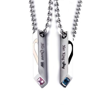 Cool 2018 Fashion Titanium Stainless Steel Crystal Half Heart His King Her Queen Long Ball Chain Couple Necklace Gift For Women MenAT_93_12