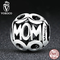 Christmas  925 Sterling Silver MOM Pendant Charms for Mother Fit Pandora Bracelets & Necklace Fashion Jewelry C060