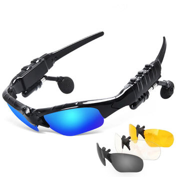 Sunglasses Bluetooth Headset Outdoor Glasses Earbuds Music with Mic Stereo Wireless Headphone for iPhone Samsung xiaomi Redmi 3