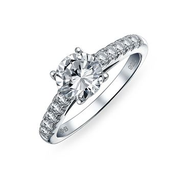 1.75CT AAA CZ Solitaire Engagement Ring Band 925 Sterling Silver
