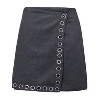 Gray Eyelet Detail Wrap Wool Blend A-line Skirt