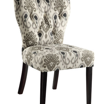 Ave Six Andrew Chair in Medallion Ikat Grey