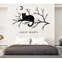 Wall Vinyl Decal Words Good Night Cat on a Branch Moon Bedroom Decor Unique Gift z4598
