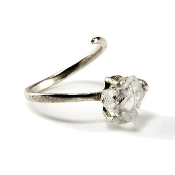 """RING """"Energy""""  with Diamond crystal, Sterling Silver, Hammered, Forged. Handmade. Organic and Rustic in style."""