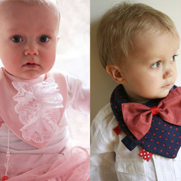 Newborn Baby Fashion Collar Feeding Bib Pinafore Christmas Gift [9619255183]