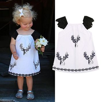Summer Toddler Kids Baby Girls Dress Fly Sleeves Children Cotton Clothes Casual Antlers Print Cute Princess Girl Party Dress