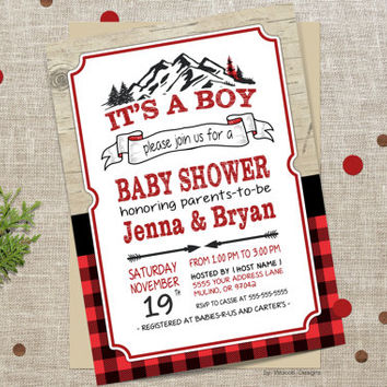 Lumberjack baby shower invitation, Plaid baby show, Flannel Baby Shower, baby shower, buffalo plaid invitation, coed baby shower invitation