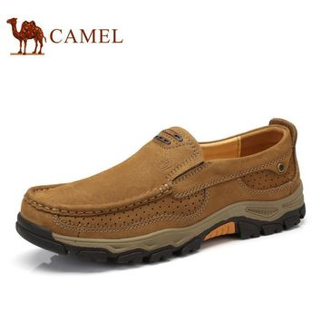 Camel Men's Shoes Spring Casual Genuine Leather Shoes Comfortable Sleeves Wear-resista