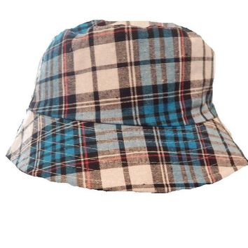 Mens Womens Blue Check Bucket Hat Cotton Fishing Camping Camo Cap Stripe Boonie