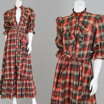 Vintage 70s Maxi Dress VERA MONT Red Plaid Dress Tartan Maxi Dress Boho Dress Hippie Dress Prairie Dress Folk Dress Puff Sleeve Frilly Dress
