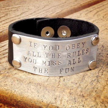 Personalized Genuine Hand Stamped Leather Cuff Wristband - 1 Inch wide