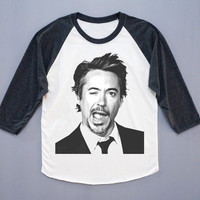 Robert Downey T-Shirt Robert Downey Wink T- Shirt Baseball Tee Shirt Long Sleeve T-Shirt Women T-Shirt Unisex T-Shirt Size L
